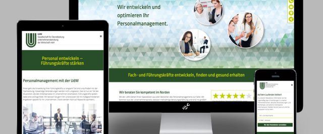 Website der UdW im responsiven Layout
