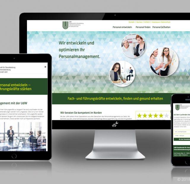 Website der UdW im responsiven Layout