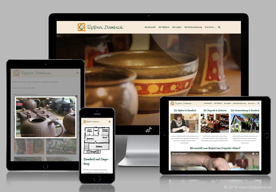 Responsive Website der Töpferei Dambeck