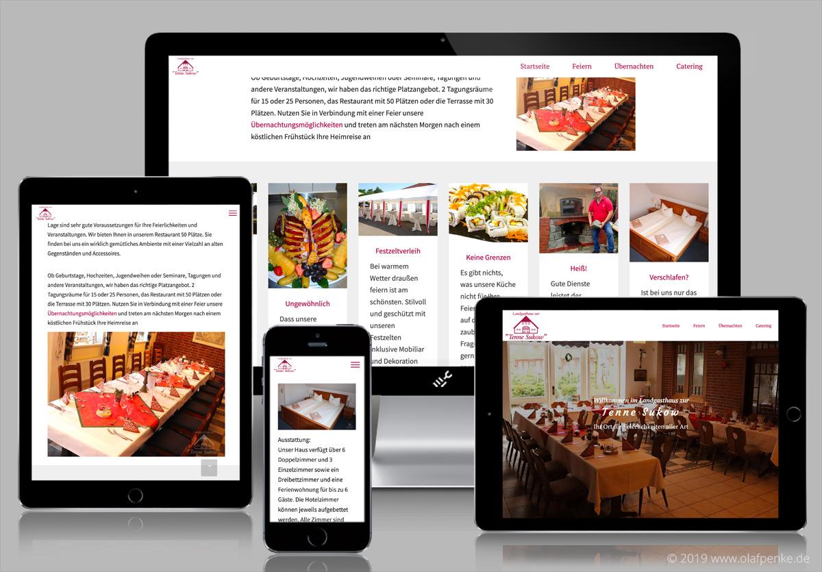 Website der Tenne Sukow auf verschiedenen Monitoren